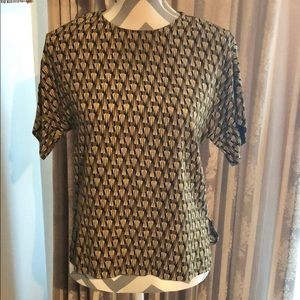 H&M blouse mustard and black